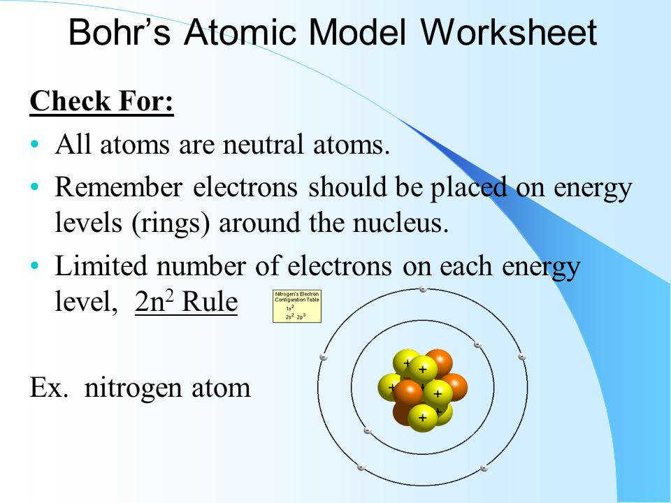 5 Bohr s Atomic Model Worksheet