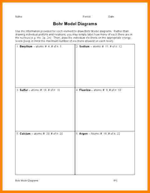 Bohr Model Worksheet Worksheets Reviewrevitol Free printable