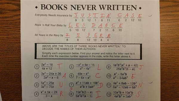 Books Never Written Math Worksheet Answers