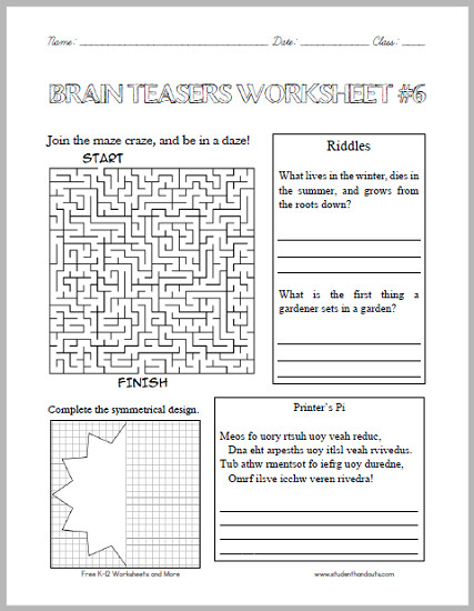 For more of our free puzzles and brain teasers click here