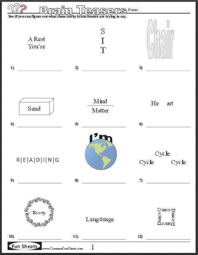 FREE BRAIN TEASER PRINTABLES Four free worksheets that will keep your students brains engaged
