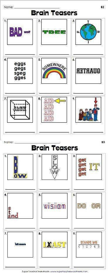 Brain teasers are a great way to your students to use their critical thinking skills Check out our clever rebus puzzles we re sure your stud…