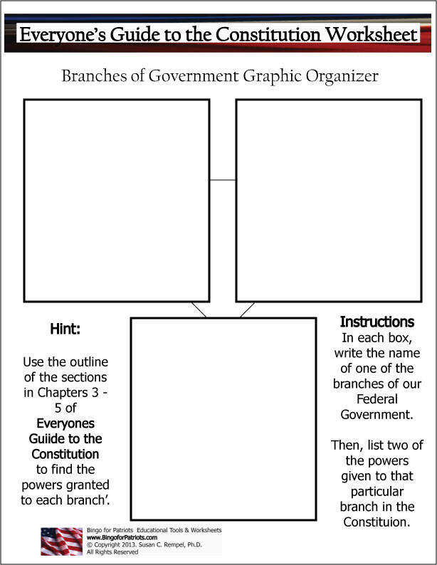 Branches of Government Graphic Organizer US Constitution