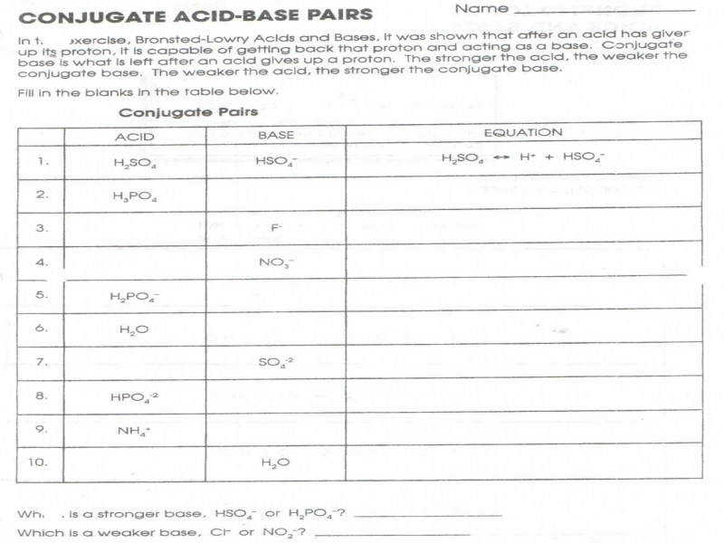 Bronsted-lowry Acids and Bases Worksheet ...