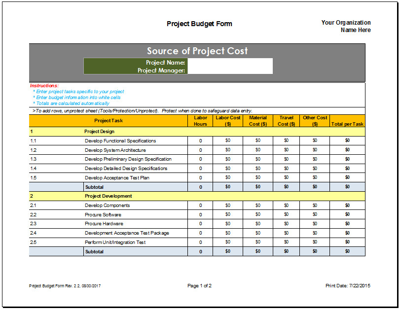 Project Bud Planner Template