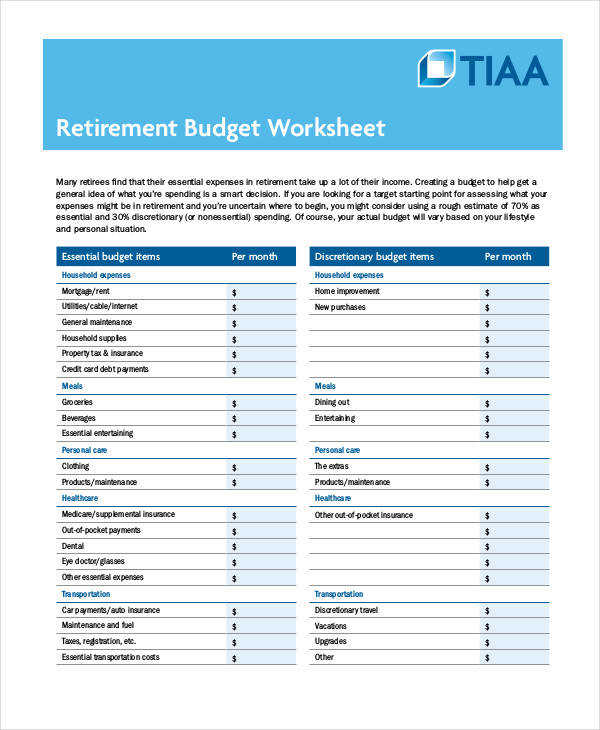 Printable Retirement Bud Worksheet Template in PDF