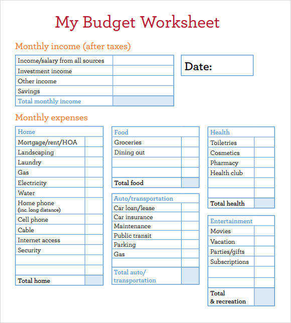 Sample Bud Worksheet 4 Documents In Pdf excel