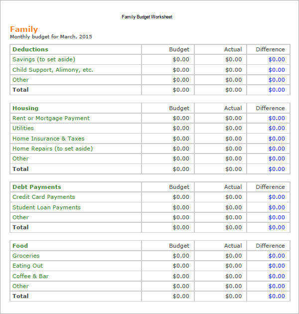 sample family bud 10 documents in pdf excel word household bud worksheets