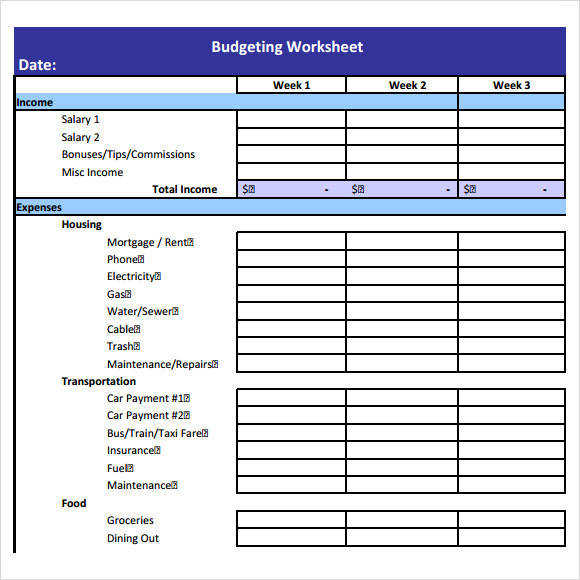 Bud Worksheet Template 6 Free Samples Examples Format