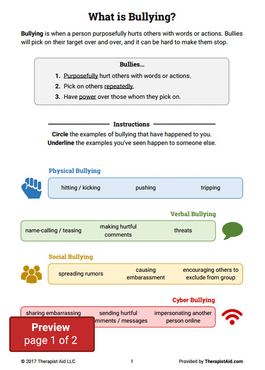 Bullying Worksheet Packet Preview