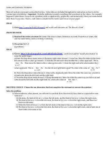 Limits and continuity calculus all content first year khan academy Worksheets