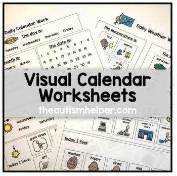 Visual Calendar Worksheets for Students with Autism or Special Education