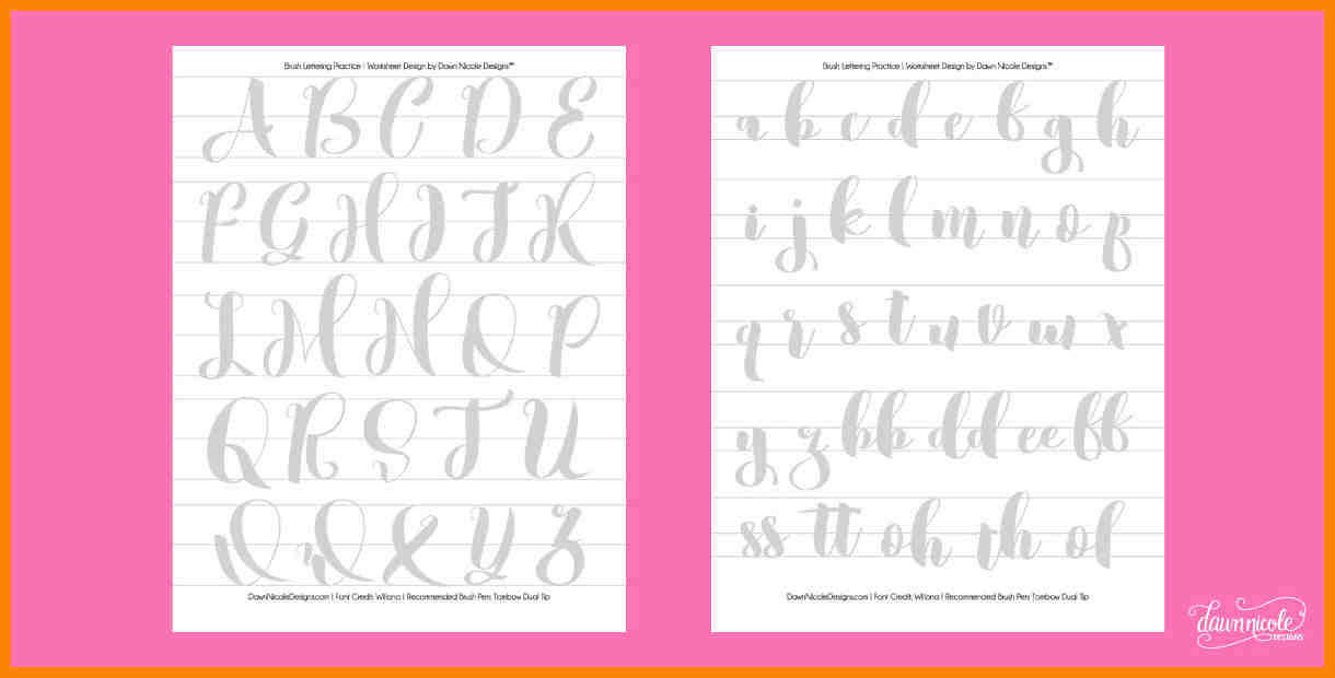 free calligraphy worksheets WillonaPracticeSheets Preview