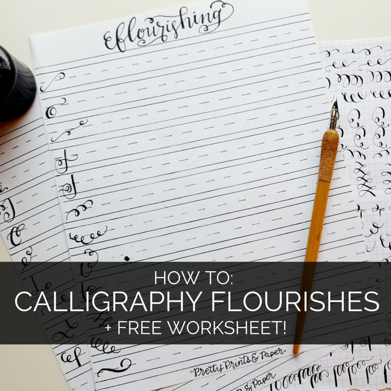 How to Calligraphy Flourishes Free Printable – Pretty Prints & Paper