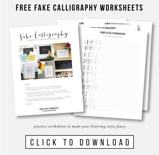 free fake calligraphy practice worksheets