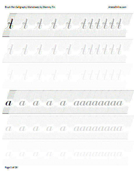 Free Brush Pen Calligraphy Worksheets Download