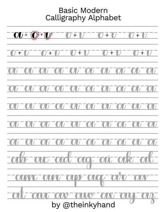 Basic Modern Calligraphy Practice Sheets by theinkyhand Lowercase Alphabet DIGITAL DOWNLOAD