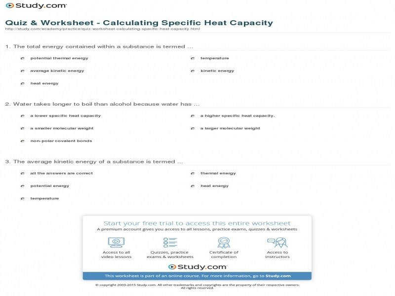 Quiz & Worksheet – Calculating Specific Heat Capacity