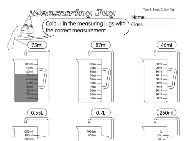 Preview of Measuring Jug A year 5 capacity worksheet