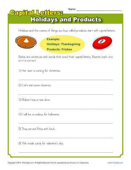 Capital Letters with Holidays and Products Worksheet Practice Activity
