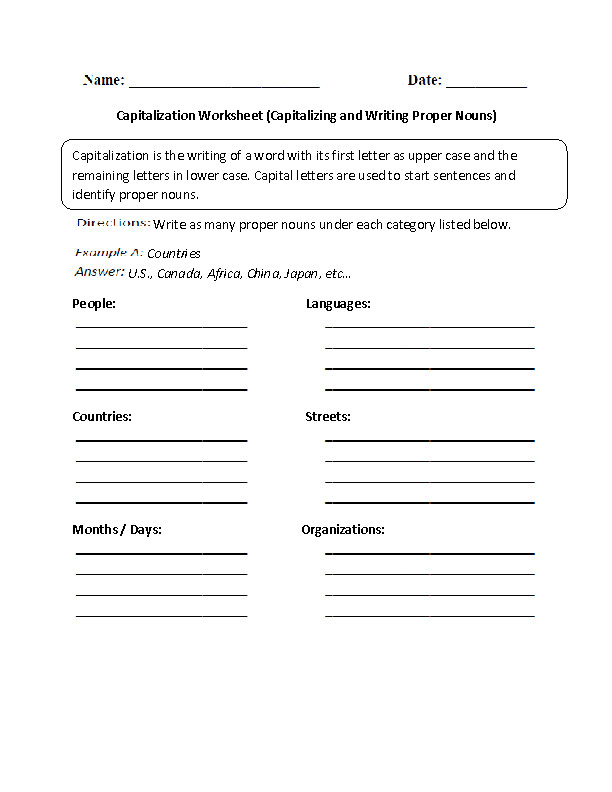 Capitalizing and Writing Proper Nouns Worksheet Grades 6 8
