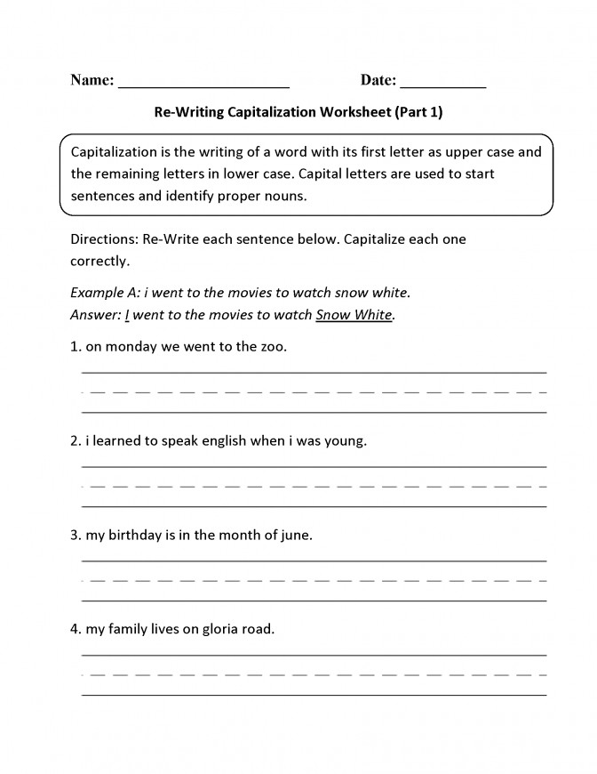capitalization worksheet. Black Bedroom Furniture Sets. Home Design Ideas