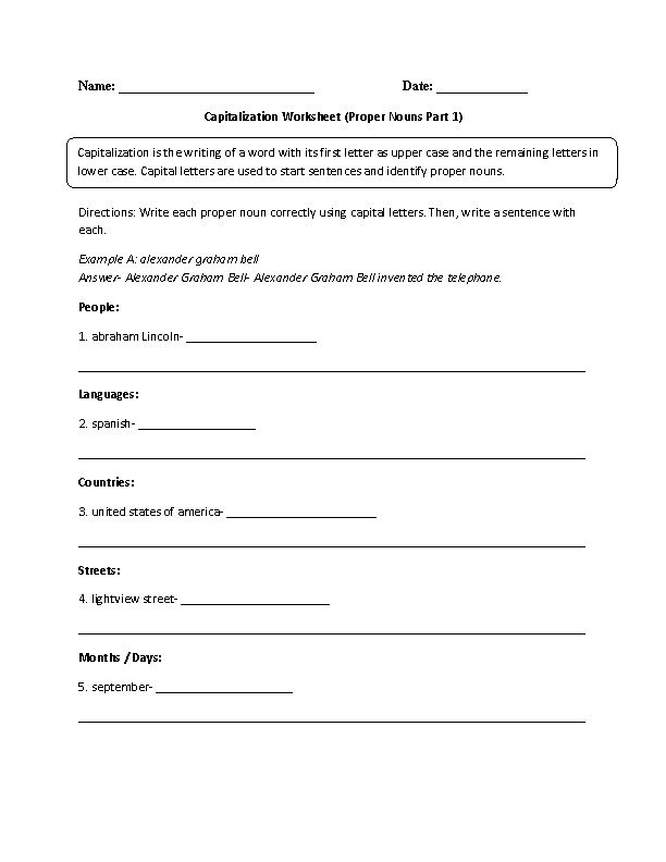 What is Capitalization Worksheet