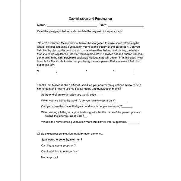 Capitalization Worksheets Middle School Studimages