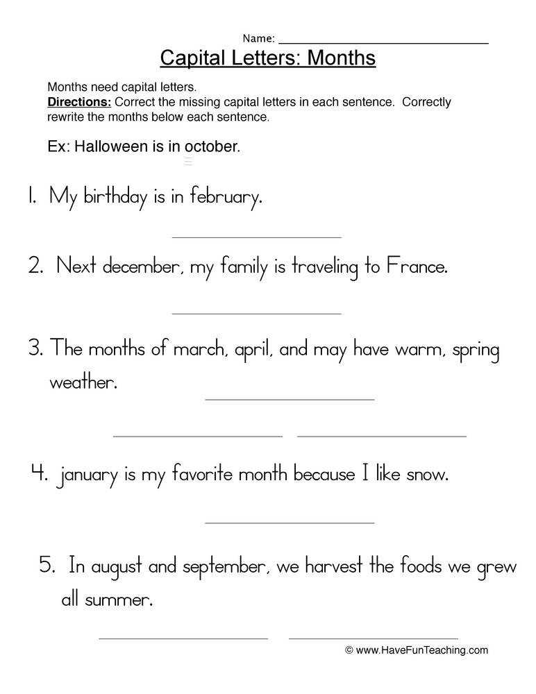 Capital Letters Months Worksheet 1