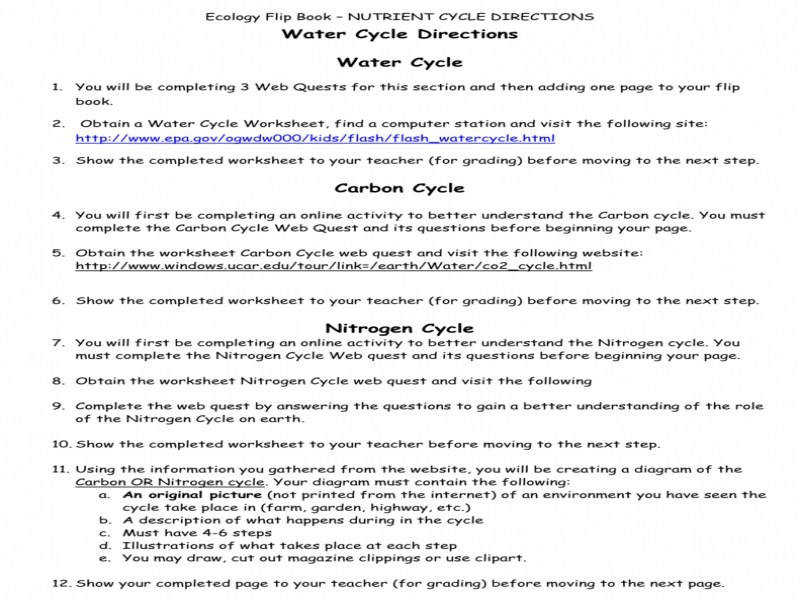 Water Cycle Directions Water Cycle Carbon Cycle Nitrogen Cycle