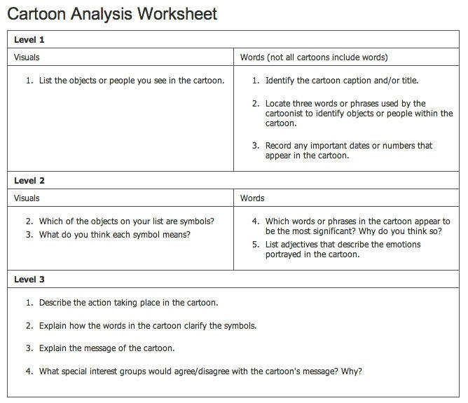 Obtain Cartoon Analysis Worksheet Answers Cartoon Analysis Worksheet