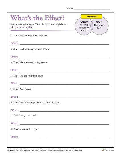 What s the Effect Printable Cause and Effect Worksheet