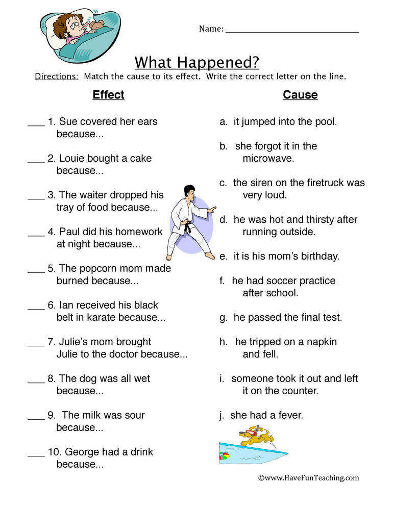 What Happened Cause Effect Worksheet