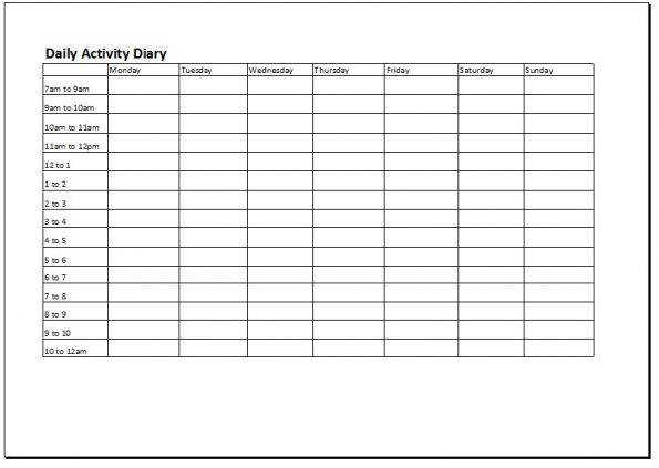 Activity Diary Log Worksheet Behavioural Activation
