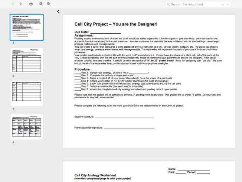 Cell City Project You are the Designer 6th 8th Grade Worksheet
