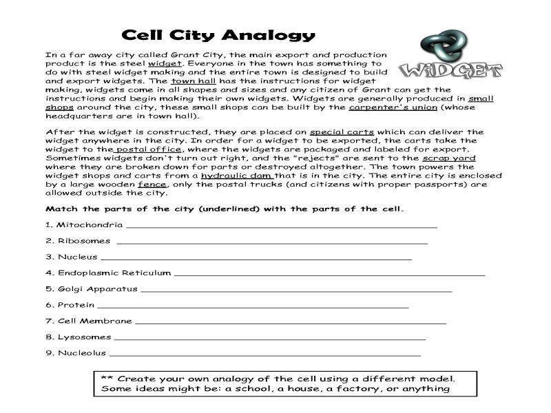Cell City Analogy Worksheet Free Worksheets Library