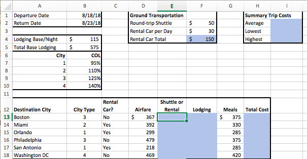 1 Departure Date 8 18 18 Summary Trip Costs Ground Transportation S 50 2 theCities worksheet click cell