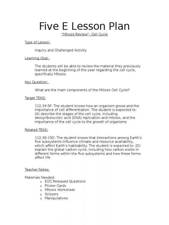 Five E Lesson Plan Mitosis Review Cell Cycle Division And Cytokinesis Worksheet Answers Cell Division