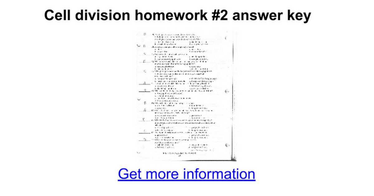 cell division worksheet