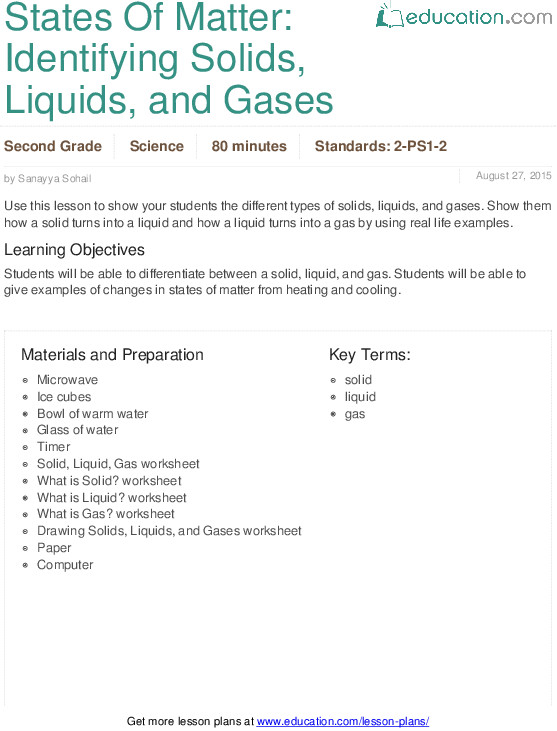 States Matter Identifying Solids Liquids and Gases Lesson Plan