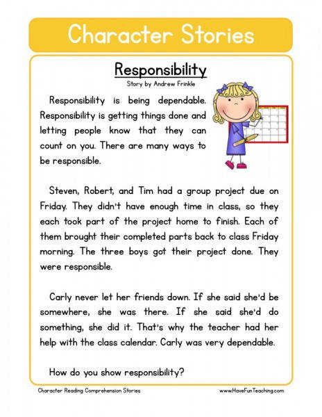 This Reading prehension Worksheet Responsability is for teaching reading prehension Use this reading prehension story to teach reading