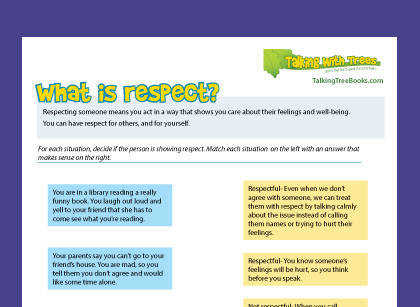 What is respect free printable character education worksheet