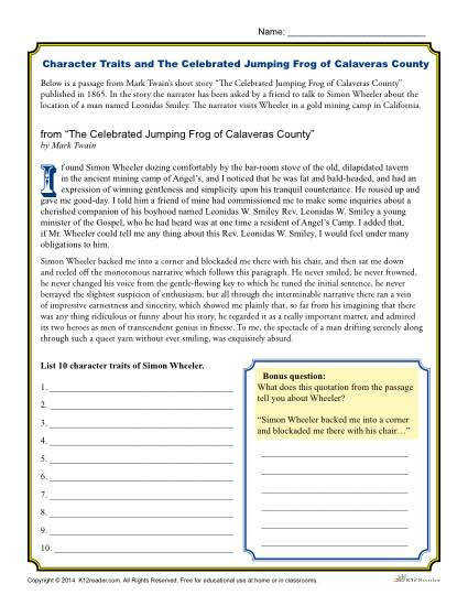 Celebrated Jumping Frog of Calaveras County Character Traits Worksheets