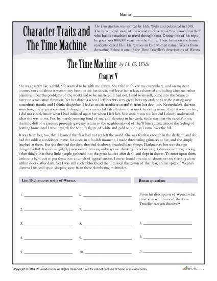 Character Traits Worksheet – The Time Machine
