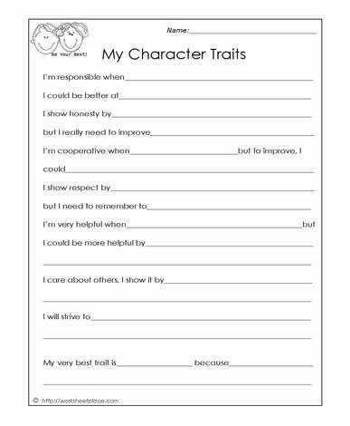 My Character Traits Social Skills Worksheets
