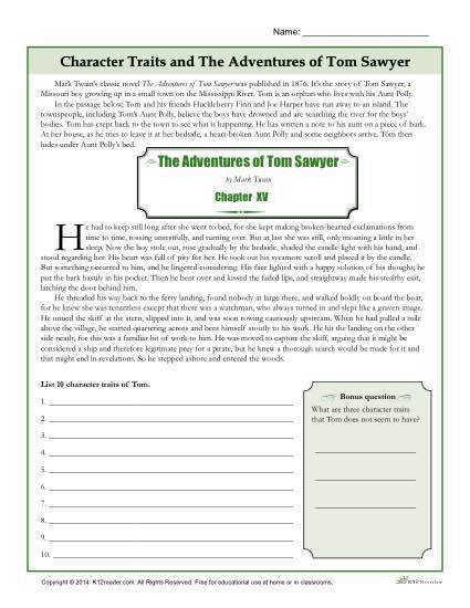Character Traits Worksheet – The Adventures of Tom Sawyer