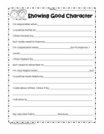 This character trait worksheet is helpful to encourage students think about their strenghts and their weaknesses Character education and social skill