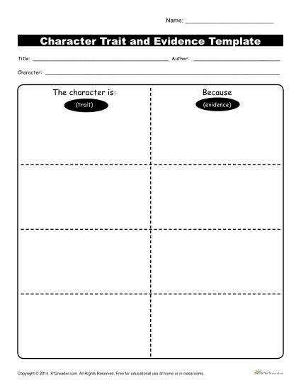 Character Traits Worksheet Evidence Template In this Character Trait worksheet students describe a