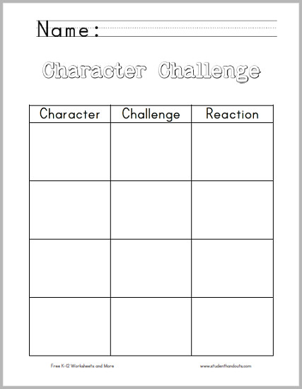 character challenge chart worksheet