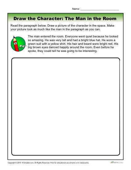 Character Traits Worksheet Draw the Character The Man in the Room